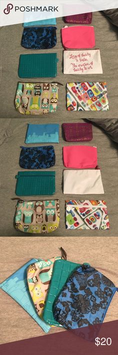 Assortment of small bags Eight small zipper bags that could be used for makeup or other little things that need to be kept together in your purse. Seven of them are from Ipsy and the owl one is from Thirty-One and is insulated. Bags Cosmetic Bags & Cases