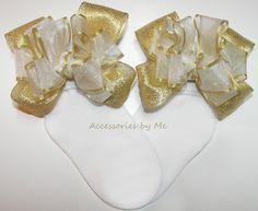 Fancy White Gold Bow Socks Organza Metallic by accessoriesbyme
