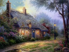 Thomas Kinkade Paintings :  Along the Lighted Path - Romantic Glowing Cottage   22