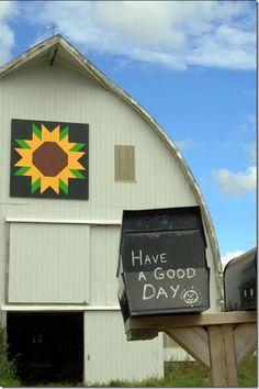 Sunflower Barn Quilt in Nova Scotia Barn Quilt Designs, Barn Quilt Patterns, Quilting Designs, Block Patterns, Sunflower Quilts, Painted Barn Quilts, Barn Signs, Barn Wood Crafts, Barn Art