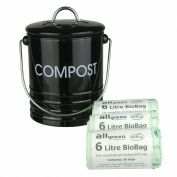 Black Metal Kitchen Compost Caddy & 150x 6L All-Green Biobags - Composting Bin for Food Waste Recycling