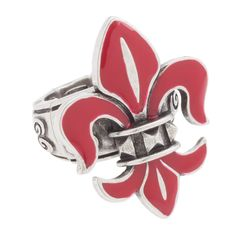 "Boleyn-Scarlet Ring  Your Price:  $20.00    Add a handcrafted fleur de lis ring in your favorite Grace Adele color to your look for an urban appeal. Boleyn Ring • Silver tone • Elastic band • 1.25"" L, 1"" W"