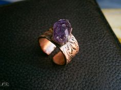 Raw Amethyst Copper Ring Rough finish by ElvenAdornments on Etsy, $34.00