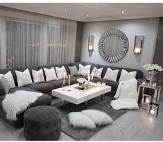 A Modern Apartment Living Room: Home and Interior – Get Yourself a Stylish Living Room That's Fun Living Room Decor Cozy, Living Room Mirrors, Shabby Chic Living Room, Living Room Grey, Home Living Room, Apartment Living, Living Room Designs, Wall Mirrors, Mirror Stairs