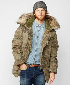 Denim & Supply Ralph Lauren Down Snorkel Jacket, Inspired by a classic military parka, this super-warm, heavyweight cotton-blend jacket features a faux-shearling-lined hood with detachable faux-fur trim and a modern, slim-fitting silhouette.