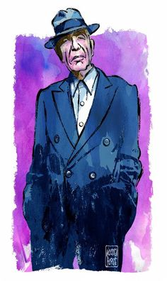 Leonard Cohen - Colour Brush Drawing by ~wooden-horse on deviantART