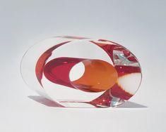 "Richard Silver- ""Blood Orange Slice"" blown, cut, polished, glass"