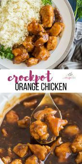 This Crockpot Orange Chicken is a healthier, homemade version of one of our favorite takeout meals! It has the most flavorful sauce! A crockpot chicken recipe thats sure to impress the whole family. Slow Cooker Huhn, Slow Cooker Chicken, Slow Cooker Recipes, Crockpot Recipes, Chicken Recipes, Cooking Recipes, Healthy Recipes, Recipe Chicken, Crockpot Meals Easy Chicken