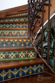 Blue & Aqua Tile Staircase - mediterranean - staircase - santa barbara - Maraya Interior Design