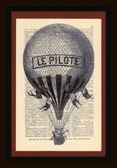 1912 Vintage Dictionary Art Print Le Pilote Matted on by BBlaeser, $10.00