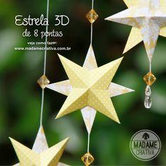 Como fazer estrela 3D de Papel -Estrela de 8 pontas - Dicas de como fazer - passo a passo com fotos - DIY Paper Star - How to tutorial with pictures - Madame Criativa - www.madamecriativa.com.br