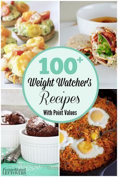 Keep this list handy for easy meal planning on the Weight Watcher's diet. It includes 100+  Weight Watcher's Recipes with Point Values. Healthy recipes your family will enjoy including dinner, desserts, and snack foods.