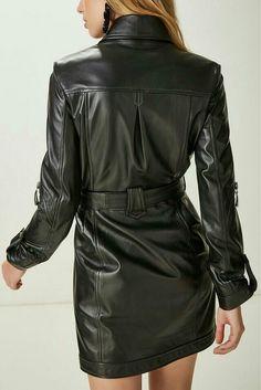 Lederlady ❤ Leather Trench Coat, Leather Jacket, Best Corset, Leder Outfits, Leather Fashion, Ideias Fashion, Shirt Dress, Sexy, Shirts