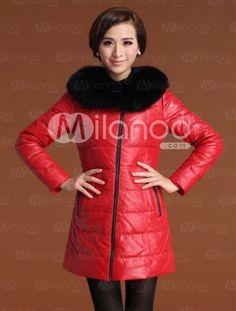 Shaping Red Sheepskin Duck Down Fox Fur Collar Women's Fur Coat - Milanoo.com