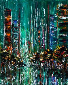 abstract cityscape street scene city art painting by Debra Hurd