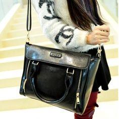 USD13.99Women Fashion Solid Zipper Black PU Shoulder Bag