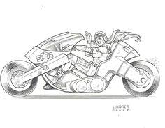 Dawn on Kaneda's bike commission by Joseph Michael Linsner
