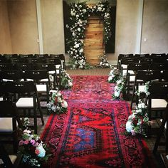 You know sometimes rain plans can work to our favor! From this stunning vintage wood wall flat from @brighteventrentals to #rugs to the show-stopping #flowers created by the ever amazing Clair @poppystone - I just can't get over how this #design came together in the space! Look forward to more beautiful photos from today's #wedding @solagecalistoga {sugar rush events in house wedding designer} team Jovi  Audrey by sugarrushevents