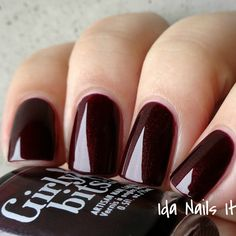 Ida Nails It: Girly Bits Hocus Pocus Collection: Swatches and Review. Girly Bits I am Calm! Two coats Dark burgundy jelly with red to gold shimmer Peeeeeerfection. It's just the sort of shade I wear in the fall. The color is dark and gorgeous and it applies flawlessly.  Available at www.girlybitscosmetics.com