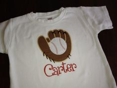 Baseball Glove Applique Tee by preppyponydesigns on Etsy, $24.00