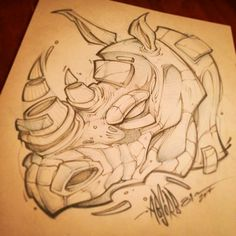 """403 Likes, 24 Comments - Craig Patterson (@absorb81) on Instagram: """"Sketch from last night. #rhino #art #absorb81 #sketch #new #streetart #tattoo #illustration…"""""""