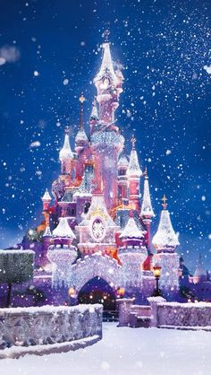 Disney castle in the snow, soooo pretty
