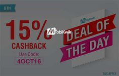 Get 15% Cashback on DTH Recharge at Mobikwik on October 05 2016. Check details and Buy Online, through PaisaOne.
