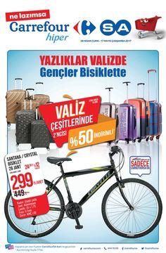 Carrefour marketlerde kampanya ve indirim günleri sürüyor. Carrefour yeni kataloğunda28 Nisan - 17 Mayıs 2017 tarihleri arasında birçok üründe uygun fiyat fırsatı sunuyor. Carrefour valizlerde 2. ürüne özel %50 indirim sunuyor. Santana marka bisiklette 299 TL fiyat fırsatı!