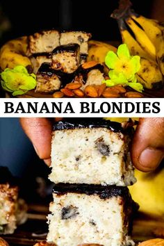 Banana Nut Blondies with Chocolate Frosting - Recipe Magik Summer Dessert Recipes, Healthy Dessert Recipes, Easy Desserts, Delicious Desserts, Banana Blondies, Banana Nut, Chocolate Frosting Recipes, Banana Recipes, Food