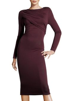Dark Purple Ruffle Long Sleeve Maxi Modal Dress - Cocktail - Dresses