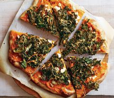 Healthy Vegetarian Recipes Straight From the Farm: Sweet Potato and Kale Pizza. To save time on this one, make the potato sauce a day ahead and refrigerate. #SelfMagazine