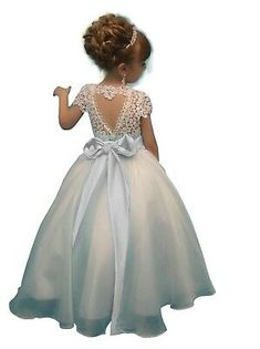 White Ivory Lace Flower Girl Dresses with Colorful Sash pageant Dress for Teens Flower Girl Dresses Country, Princess Flower Girl Dresses, Cheap Flower Girl Dresses, Lace Flower Girls, Pageant Dresses For Women, Pagent Dresses, Girls Dresses, Sashimi, Ebay