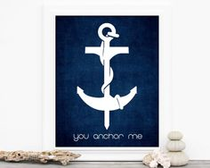 You Anchor Me Navy Blue Art Love Print  by hairbrainedschemes, $15.00