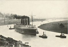 Lusitania (1907) leaving the Clyde. From Liverpool University Cunard Archive