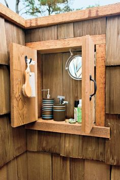 5 Outdoor Shower Ideas for Your Ultimate Backyard Oasis - 5 Outdoor Shower Ideas for Your Ultimate Backyard Oasis A wooden outdoor medicine cabinet is great to hold all your shower must-haves. Outdoor Baths, Outdoor Bathrooms, Outdoor Rooms, Outdoor Living, Outdoor Kitchens, Diy Shower, Shower Tub, Shower Ideas, Outside Showers
