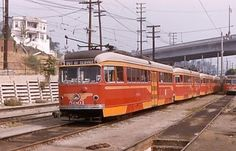 PCC Streetcar was on the Pacific Electric line in Los Angeles in the late 1940s and was called the Daylight Livery version.