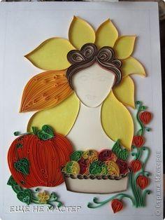 Картина панно рисунок Квиллинг  Золотая осень  Бумажные полосы фото 3