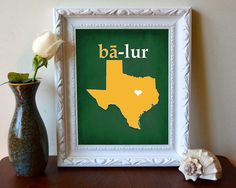 Phonetic Baylor Texas outline print // #SicEm
