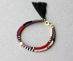 Beaded Friendship Bracelet - Layering Bracelet - Tassel Bracelet- Double Strand Bracelet - Red Purple Blush Pink Bracelet with Black Tassel