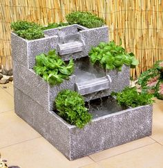 3 Tier Solar Cascade Water Feature and Planter Bamboo Water Fountain, Water Fountain Design, Modern Fountain, Tabletop Water Fountain, Diy Fountain, Indoor Fountain, Fountain House, Fountain Lights, Homemade Water Fountains