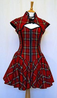 Tartan Plaid Corset Dress Goth Punk Prom OBSIDIAN NEW   eBay Red Corset  Dress, Goth 03dc073b63c0