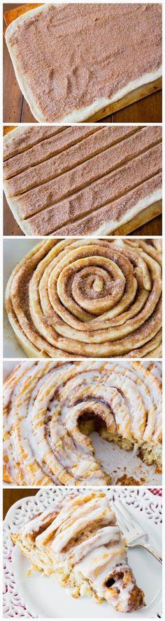 Giant Cinnamon Roll Cake #cinnamonroll #cake #treatyoself
