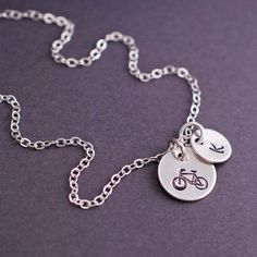 Personalized Bike Necklace Gift for Cyclist by georgiedesigns