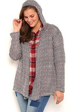 63b1753841f Fashion Bug Junior Plus Size Long Sleeve Marled Knit Duster Sweater with  Hood www.fashionbug