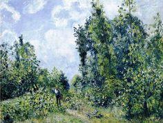"Camille Pissarro - ""Lisière de bois (Wanderer near the Wood)"", 1888. Oil on canvas, 24¾ x 32¾ in. (63 x 83.2 cm.)"