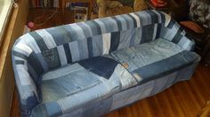 Slip Cover made out of recycled jeans. perfect cover for old stained couch or chair that is still comfy