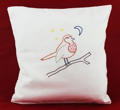 FOREST LULLABY pillow cover with hand embroidered sleeping Bird, robin. Embroidery hand embroidery stitchery Handmade by NeedleTwiddle on Etsy