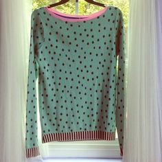 SHiliconfETTI Blue Polka Dot Sweater Very cute and different! blue with black polka dots, the collar is pink, and the bottom and ends of the sleeves are black and white striped. Offers Welcome✅ selling close to retail for now. sheila couture Sweaters Crew & Scoop Necks