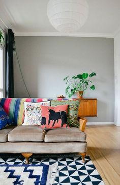 Isabel and Claire's Globetrotting living room. Image by Rebecca Proctor