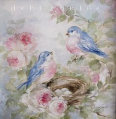 Shabby Romantic Bluebird and Roses Painting in Antique Frame SOLD - Debi Coules Romantic Art
